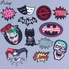 Pulaqi Diy badge  Punk patch Embroidered Patch For Clothes Iron On Patches jeans stripes Heath Ledger Joker wholesale H