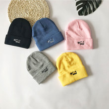 Embroidery Solid Color Cute Animal Beanie Hat Women Men Warm Winter Knitting Hats Gorros striped rib knitting warm beanie hat