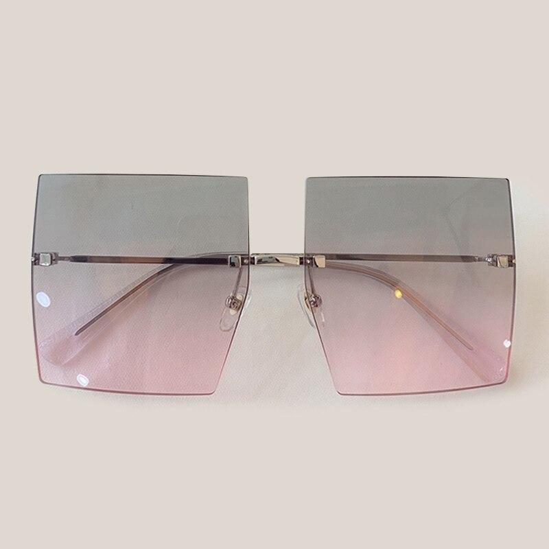 Vintage Oversize Sunglasses Women Brand Designer Rimless Square Sun Glasses UV400