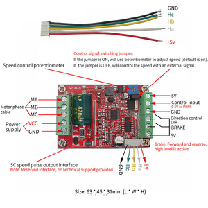 Image 3 - 6 72V 400W BLDC 3 phase DC Brushless Motor Controller PWM Hall motor Control Driver Board  12V 24V 48V 72V Forward Reverse