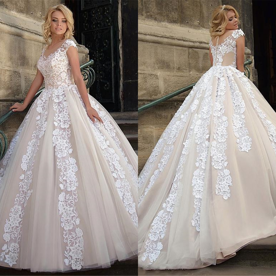 Custom Made O-neck Tulle With Applique Lace Wedding Dress Ball Gown Bride Dress 2019 Robe De Mariee