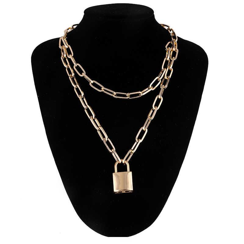 Złoty metal lock naszyjnik dla kobiet moda kłódka łańcuszek wisiorek naszyjnik 2019 oświadczenie fajne modne biżuteria