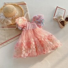 Spring and Summer Children's Clothing Girls' Three Dimensional Flower Pink Lovely Mesh Bubble Sleeve Dress