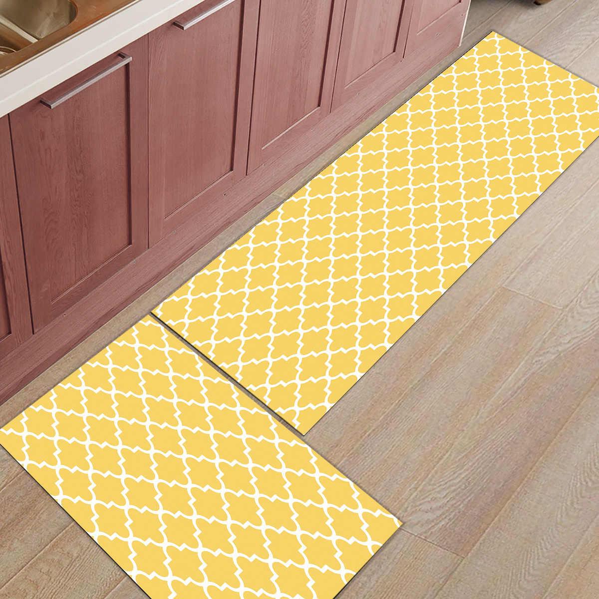9Pcs/Set Geometric Yellow White Kitchen Mat Modern Carpet Entrance Doormat  Tapete Rugs for Bedroom Prayer Pad Mats Home Decor