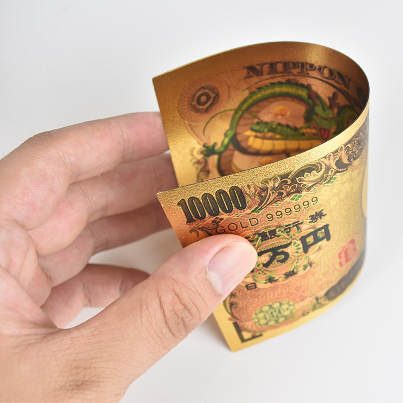 10pcs lot Dragon Ball Z Son Goku Gold Foil Banknote Japan 10000 Yen Plastic Card For collection in Gold Banknotes from Home Garden