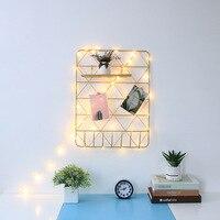Ins Nordic vento malha de ferro fresco de estudo em casa decoração da parede da foto da parede simples prateleira moderna