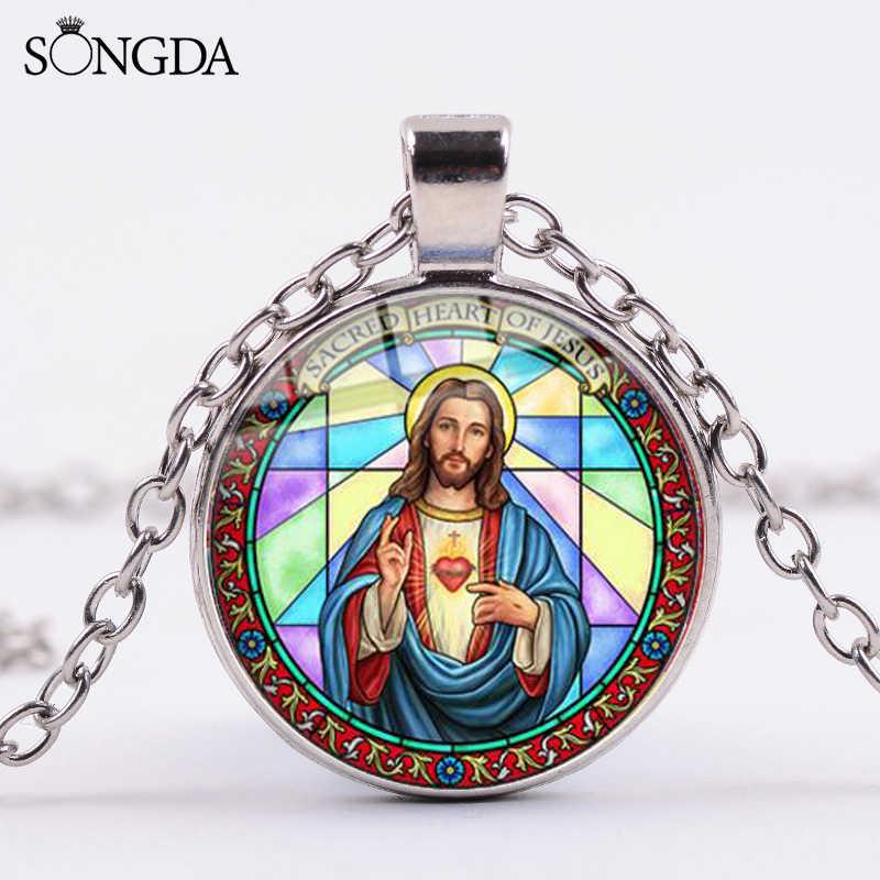SONGDA คุณภาพสูงคริสเตียนพระเยซูศรัทธาสร้อยคอพระเยซู Fish Cross Art Glass Cabochon สร้อยคอจี้ของที่ระลึก
