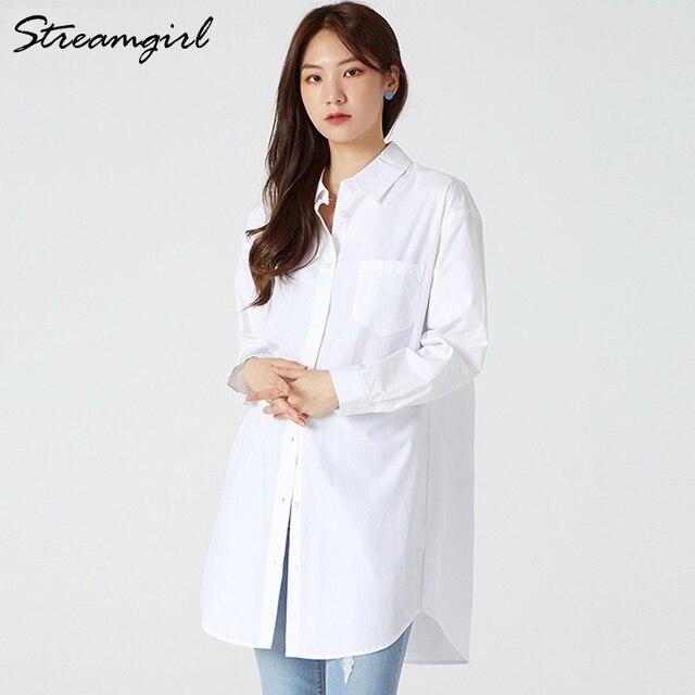 White Blouse Shirts Women Cotton Tunics Plus Size Long Tops White Button Shirt Feminine Blouses Spring Oversize Shirts Blouses 4