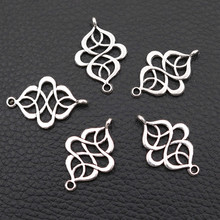 28*17mm Knot Metal Connectors, Chinese Pendant, Ethnic Style Lucky Charms, DIY Tibetan Silver Jewelry A110 20pcs