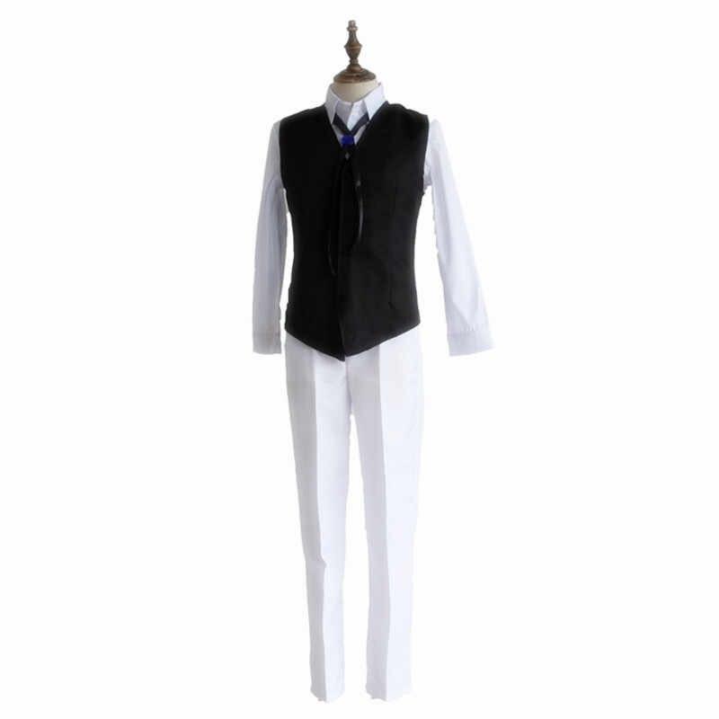 Bungo Zwerfhonden Gewapende Detective Agentschap Osamu Dazai Cosplay Trenchcoat Pak Broek Pruik Literaire Vest Halloween Carnaval Kostuum