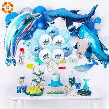 1 conjunto de balões de tubarão/dolphin/peixe, balões de desenhos animados do mar, animais, cupcake, feliz aniversário, crianças, papel, chá de bebê suprimentos para festas
