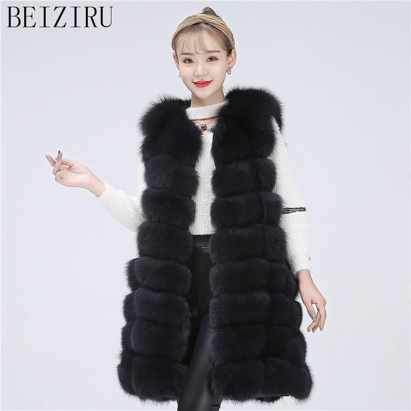 BEIZIRU Real Fur Fox Vest Natural Fur Coat Winter Warm Natural Long Waistcoat True Hair Sleeveless Silver Fox Vest Free Shipping