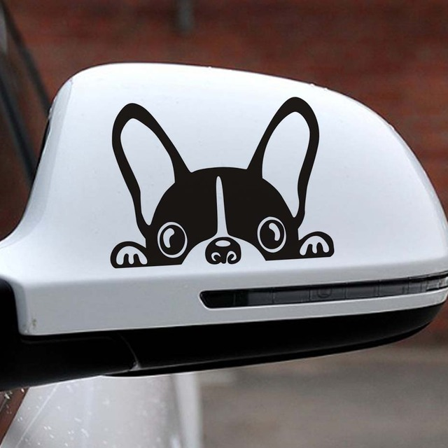 10*7.5CM French Bulldog Car Sticker Decals Pet Dog Motorcycle Decorative Stickers Car Window Rearview Mirror Decals car styling