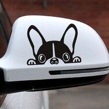10*7.5CM buldog francuski samochód naklejki naklejki Pet Dog motocykl dekoracyjne naklejki okno samochodu lusterko wsteczne naklejki na lustro Car styling
