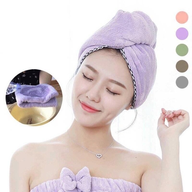 60*25cm Hair Towel Drying Quick Dry Microfiber Twist Bath Spa Hair Wrap Hat Cap
