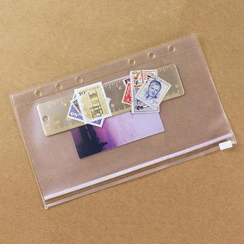 Elastic Transparent A5 A6 A7 PVC Zipper Bag Card Bills Holder Pouch Ring Plastic Pocket Diary Loose Leaf Bag image