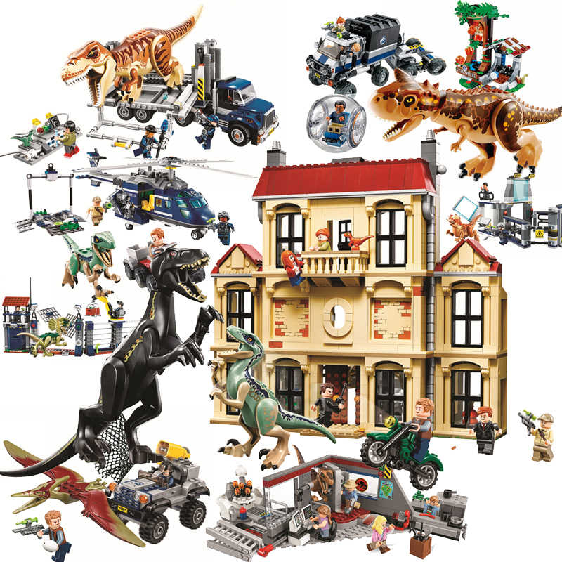 Jurassic World Brutal Raptor Building Blocks Jurrassic World 2 Dinosaur Figures Bricks Toys For Children Compatible Legoinglys
