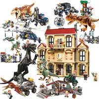 Jurassic mundo brutal raptor blocos de construção jurrassic mundo 2 dinossauro figuras tijolos brinquedos para crianças compatíveis legoinglys