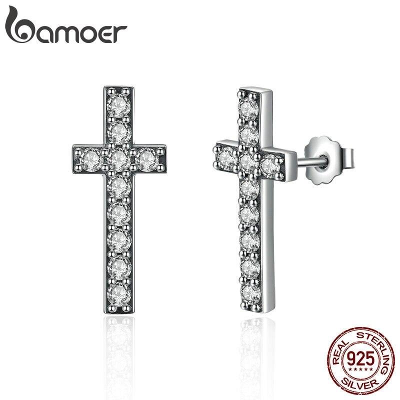 BAMOER 925 Sterling Silver Fashion Cross Stud Earrings With AAA Zirconia Push-Back Clasp Earrings For Women Jewelry SCE036