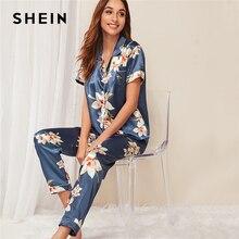 SHEIN متعدد الألوان الزهور طباعة الحرير عارضة بيجامة مجموعة النساء الصيف الخريف زر بلاكيت قصيرة كم حقق الرقبة ملابس خاصة