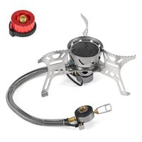 3500W Windproof Camping Stove with Gas Cartridge Adapter Gas Burner For Outdoor Camping Hiking Traveling Camping Gas