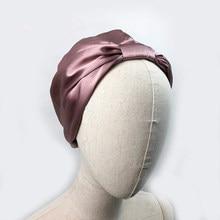 Women Sleep Hat Soft Pure Silk Charmeus Night Sleep Cap Hair Bonnet Silk Comfortable Head Cover Wide Elastic Band Hair Loss Cap