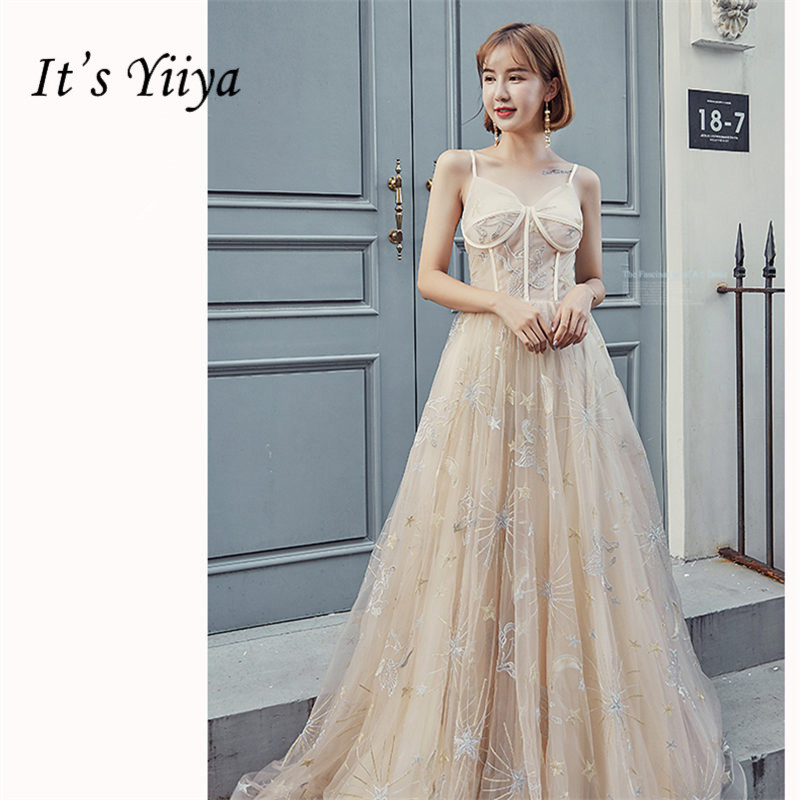 It's Yiiya Evening Dress V-neck Plus Size A-Line Women Party Dresses Elegant Spaghetti Strap Floor-Length Robe De Soiree E871