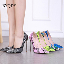 BYQDY Woman Sexy High Heels Pumps Snake Print Pointed Toe Office Shoes Ladies Black Blue Green Wedding Party Size 35-42