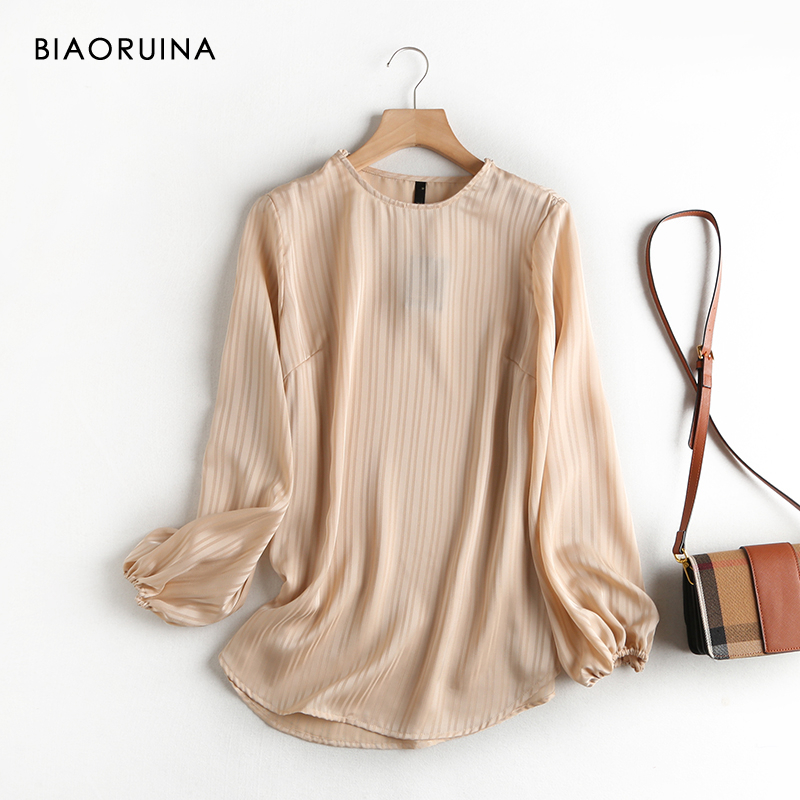 BIAORUINA Women's Vertical Stripe Lantern Sleeve Shirt Office Lady Spring New Arrival Round Neck Hollow Out Loose Blouse Tops