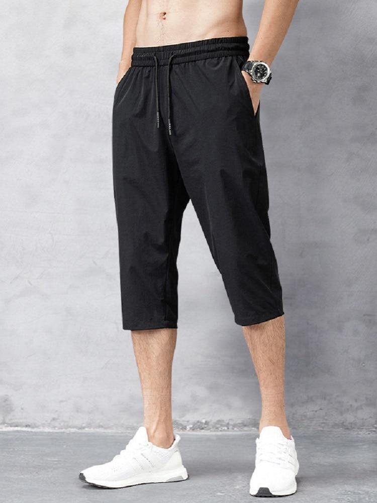 Men's Shorts Bermuda-Board Nylon Black Beach Summer Trousers Breeches Quick-Drying Male