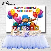 Inmemory pocoyo cumpleaños festa backdrops para estúdio de fotos balões crianças 1st aniversário fotografia fundos 7x5ft personalizado