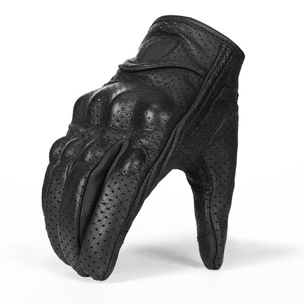 もげ本物の革のオートバイの手袋防水手袋保護具タッチ機能モトクロス手袋 Gants デモト黒