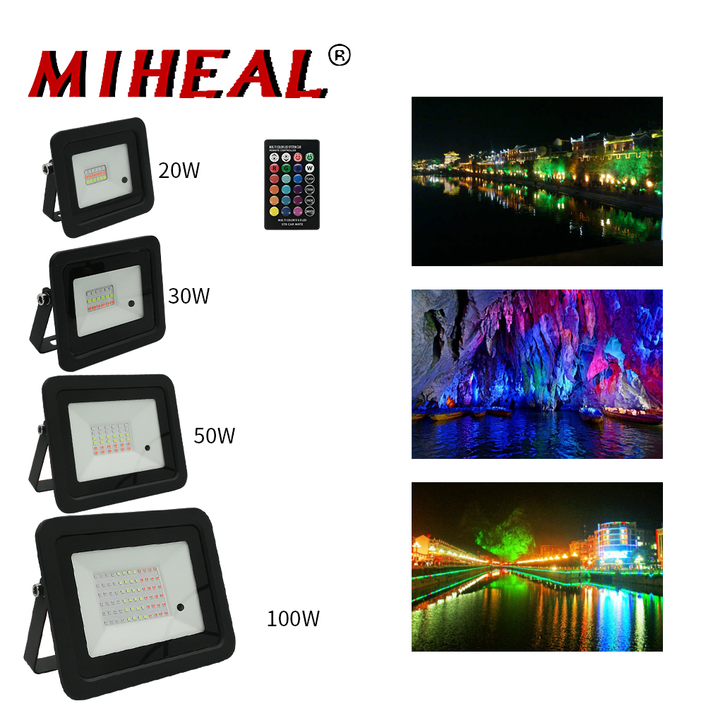 20W 30W 50W 100W Outdoor LED RGB Flood Light 110V 200V LED Spotlight IP68 Reflector Projector Lamp With Color Remote Controller