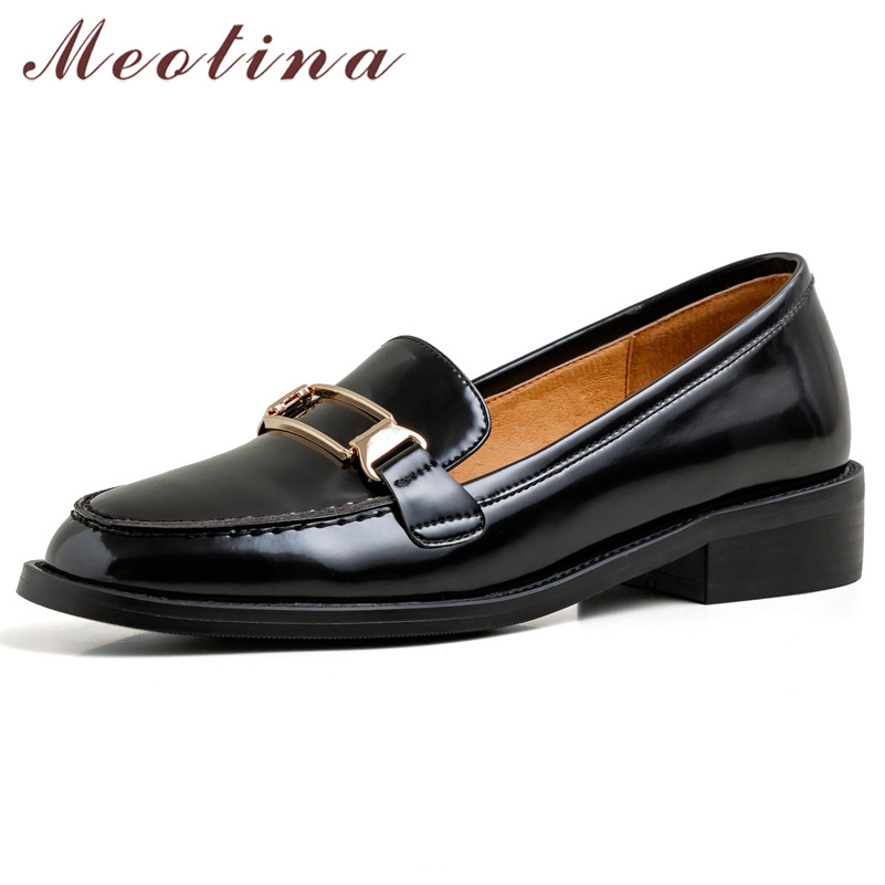 Meotina Spring Flats Women Shoes Natural Genuine Leather Flat Loafers Shoes Real Leather Round Toe Casual Shoes Lady Size 34-39