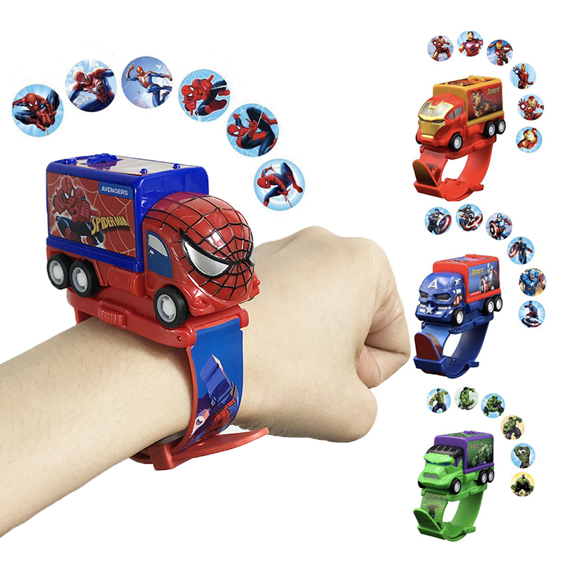 New Projection Spiderman Kids Watches Cars Toys Hulk Captain Cartoon Pattern Child Watch For Boys Clock Relogio Masculino