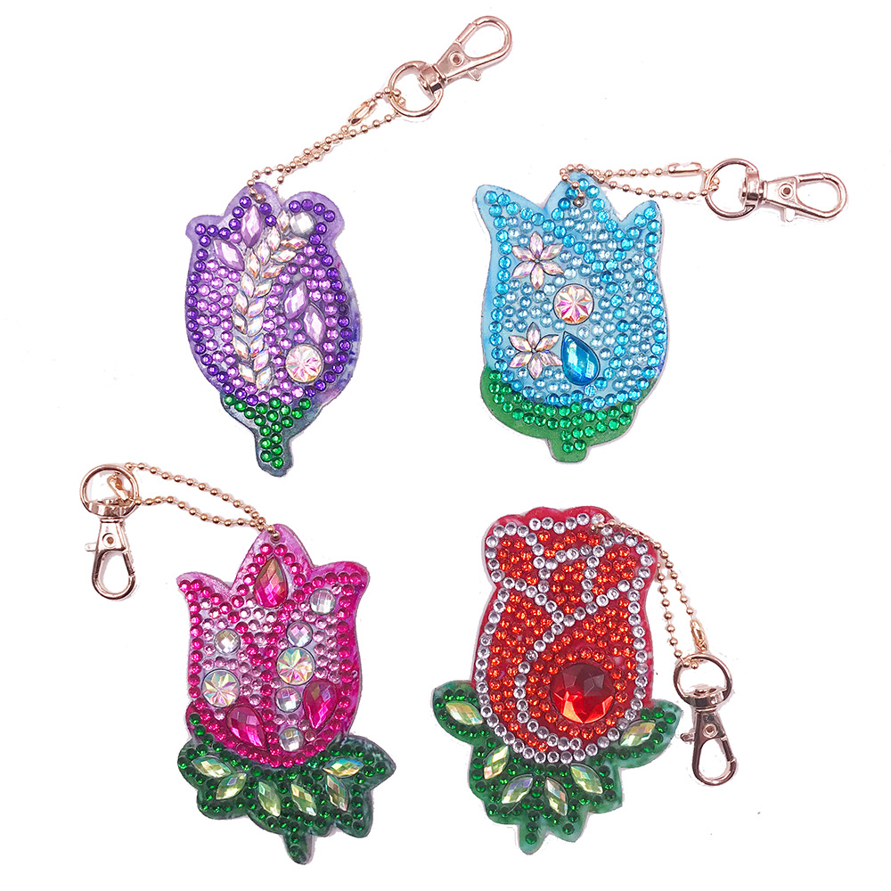 4Pcs DIY Rose Diamond Painting Keychain Full Drill Love Bag Hanging Ornaments Special Shaped Diamond Embroidery Cross Stitch