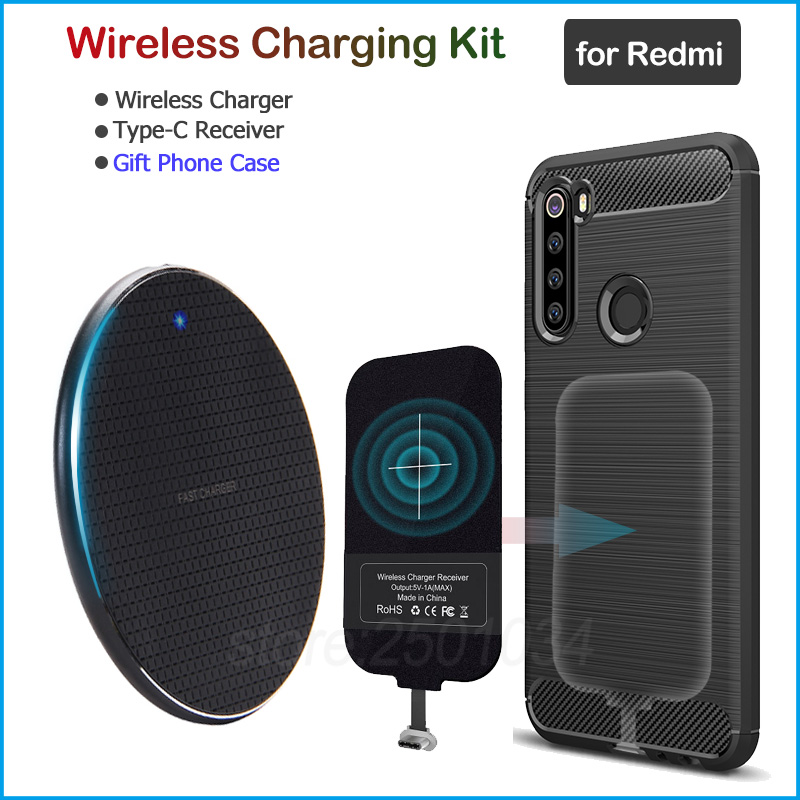 Wireless Charging for Xiaomi Redmi Note 9S 7 8 9 Pro 8T Redmi 8 8A K20 K30 Pro Qi Wireless Charger+USB Type C Receiver Gift Case