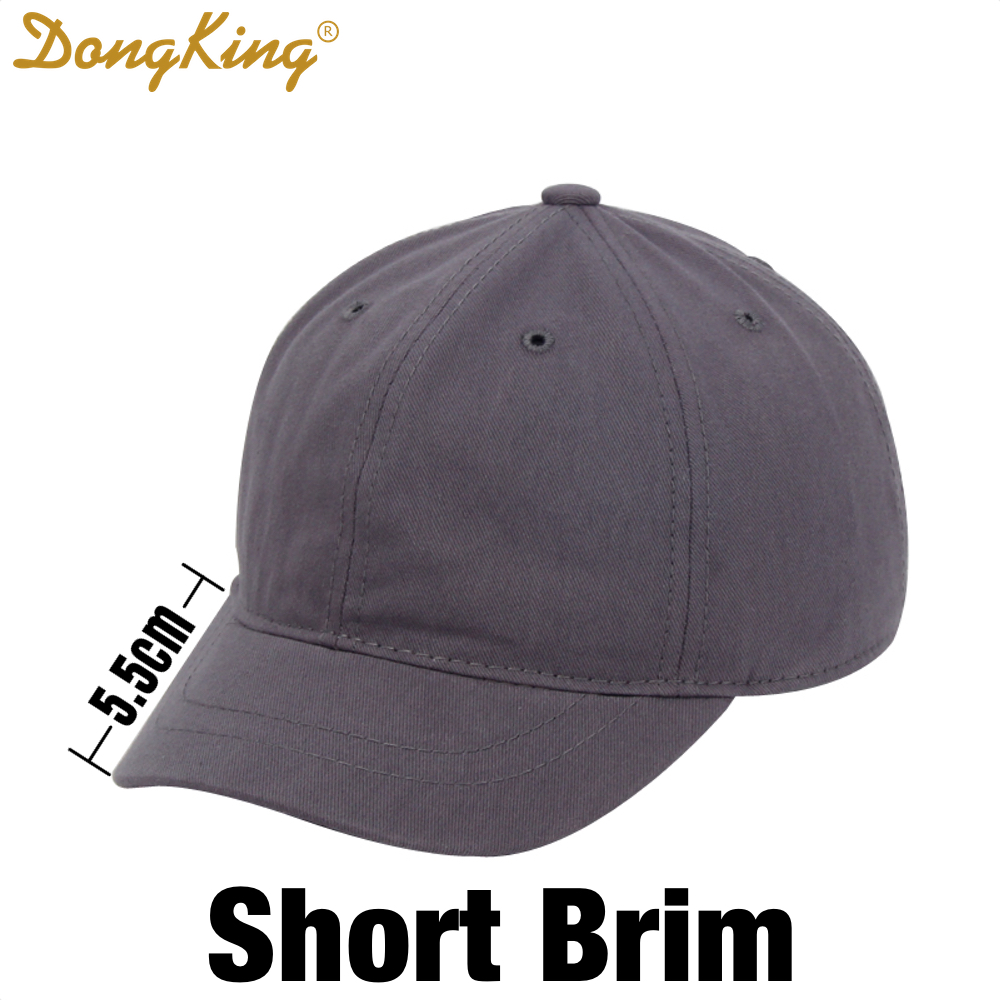 DongKing Short Brim Dad Hat Cotton Baseball Caps Short Visor Sun Hat Men Women Unisex Casual Snapback Hats Top Quality 6 Colors