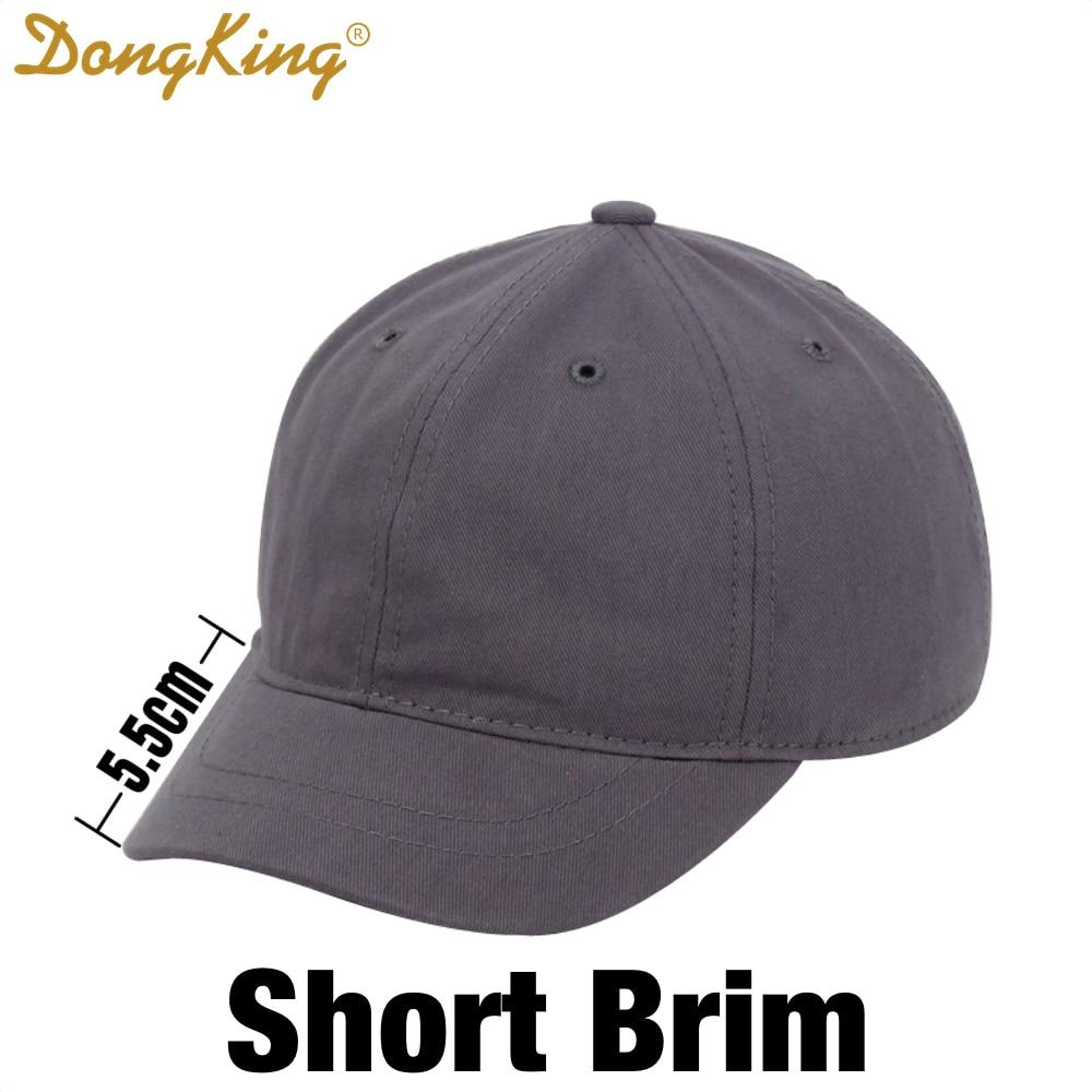 DongKing Short Brim Dad Hat Cotton Baseball Caps Short Visor Sun Hat Men Women Unisex Casual Snapback Hats Top Quality 6 Colors