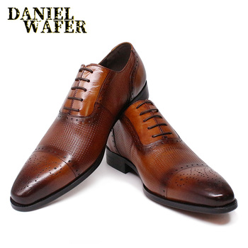 LUXURY ITALIAN OXFORD LEATHER SHOES BROGUE FASHION LACE UP CAP TOE BLACK BROWN MAN'S DRESS WEDDING OFFICE SHOES FORMAL SHOES MEN luxury italian oxfords genuine leather shoes brogue fashion wing tip black brown lace up wedding office dress men formal shoes