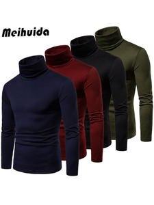 Men's Winter Warm Long Sleeve High Neck Pullover Sweater Tops Turtleneck