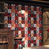 3d Letters Wallpaper Red Blue Vintage English Alphabet Barber Shop Restaurant Bar Clothing Shop Ktv Wallpaper Papel De Parede 3d
