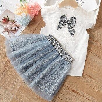 Children suit 2020 summer girl Korean Sets sleeveless doll collar shirt wide leg shorts 2Pcs Clothes 4