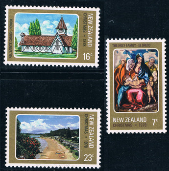3Pcs/Set New Zealand Post Stamp 1978 Christmas Greco Painting Stamps MNH NE0873 image
