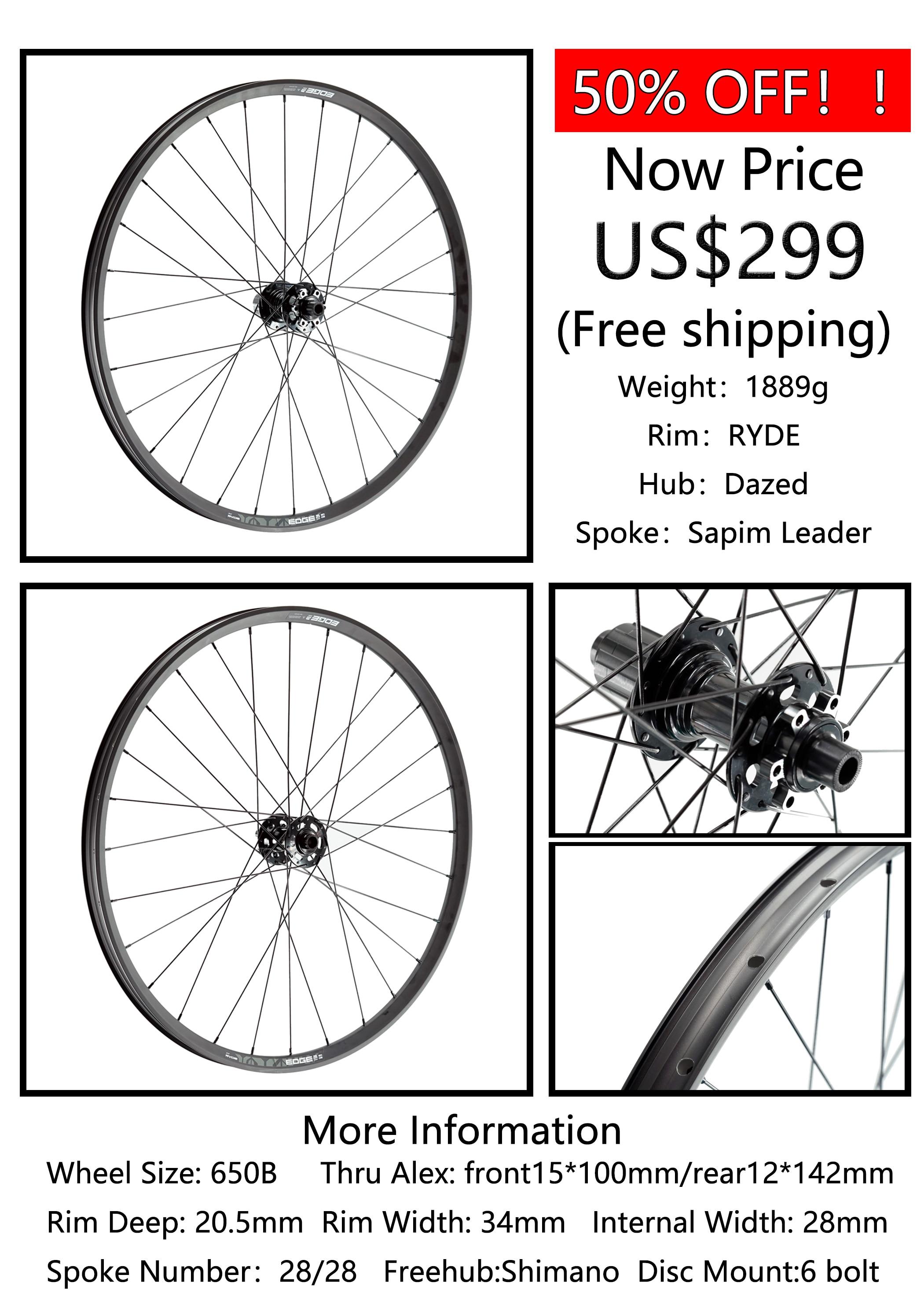 Livraison gratuite paire de roues en alliage RYDE M30! 1889g vtt roues 34mm largeur moyeu Dazed 28H jusqu'à 15*100/12*142mm