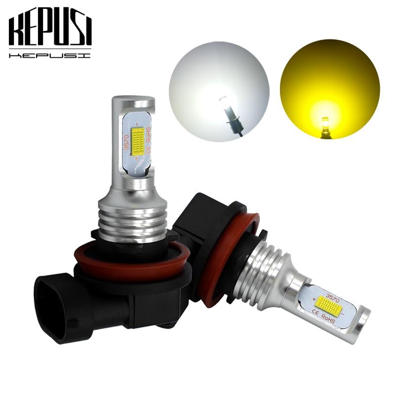2x H11 Led Fog Light Bulb H8 H9 Auto Car Motor Truck 72W High power LED Bulbs Driving Lights DRL Lamp White Yellow 12V 24V
