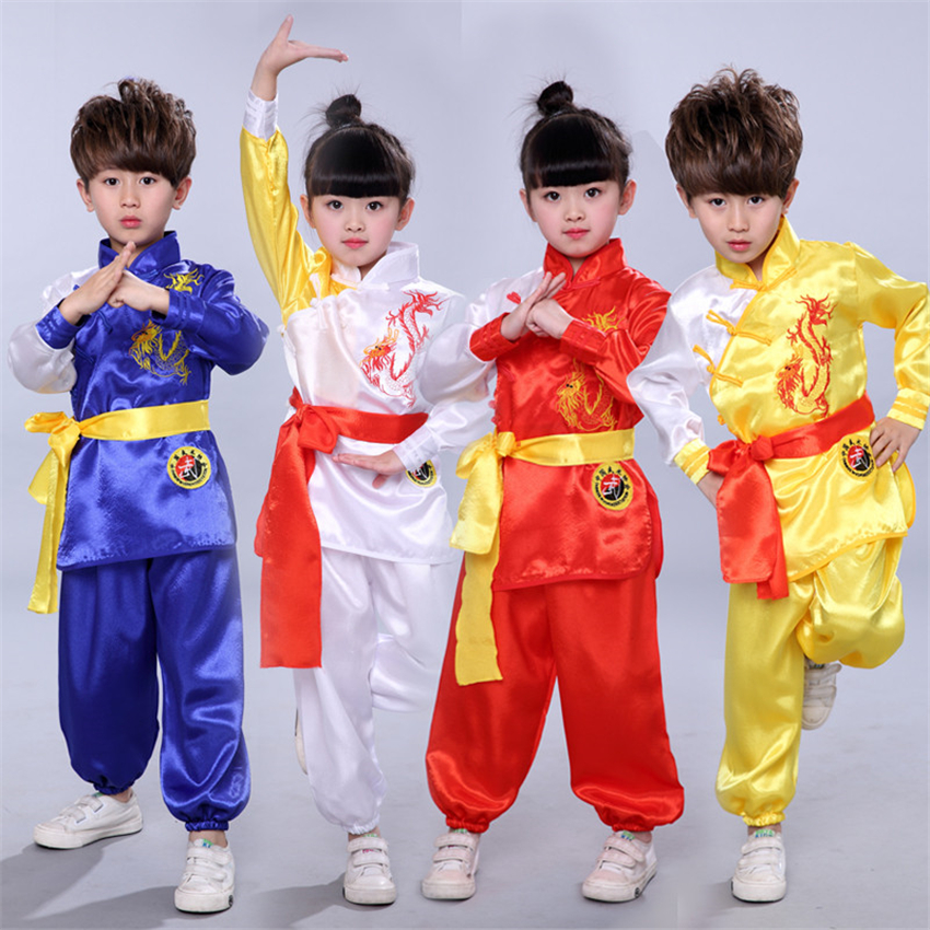 8Style Traditional Chinese Clothing Kids Kungfu Wushu Tai Chi Uniform Shaolin Martial Arts Stage Performance Kung Fu Costumes