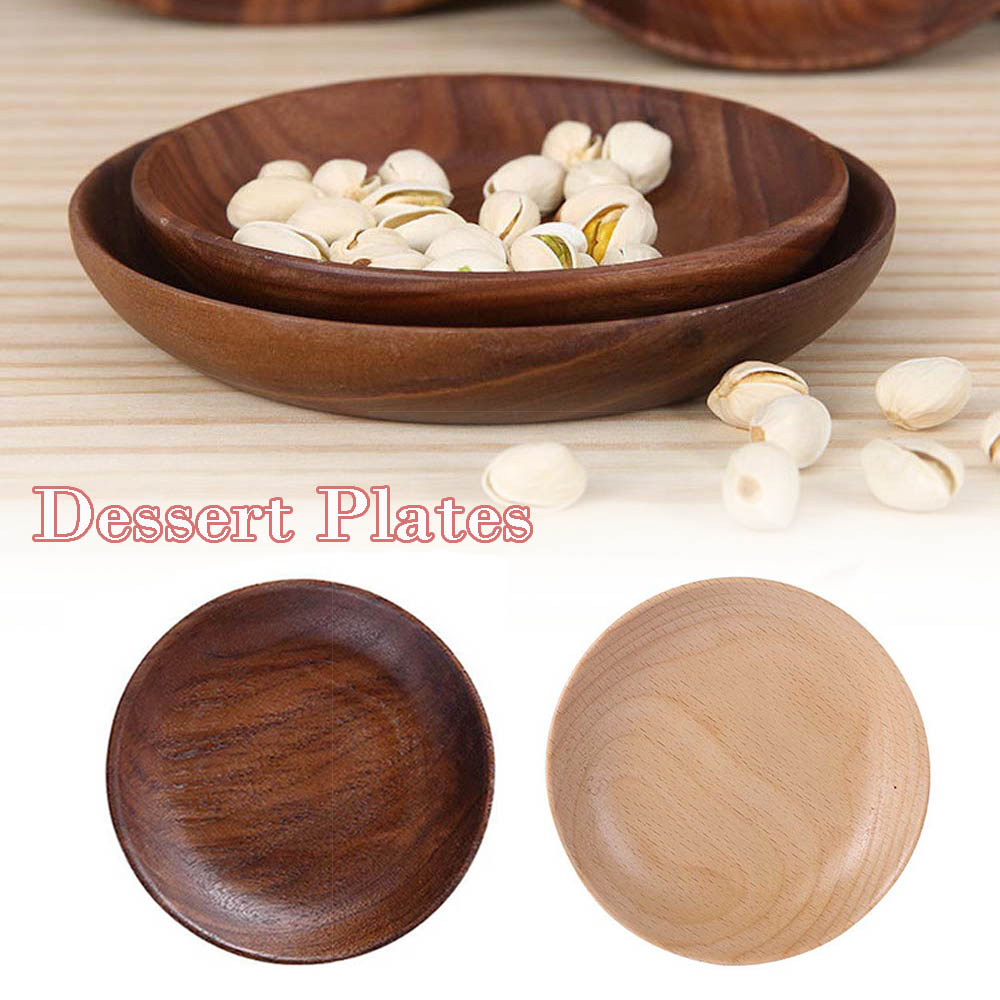 Wooden Round Plates Fruit Cake Coffee Dessert Dish Food Serving Trays Tableware