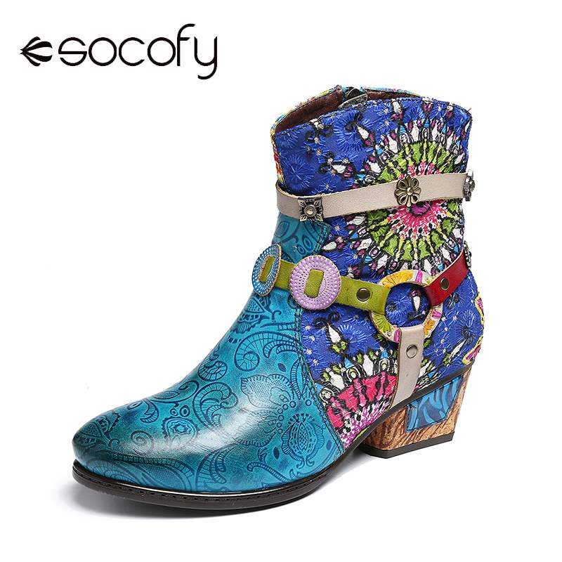 SOCOFY Genuine Leather Boots Women Printing Blue Zipper Low Heel Rubber Short Boots Elegant Shoes Women Botines Mujer 2019