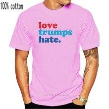 O amor supera o ódio preto camiseta donald trump hillary clinton todos os tamanhos S-3Xl homens casual manga curta camisetas ezuztfbi